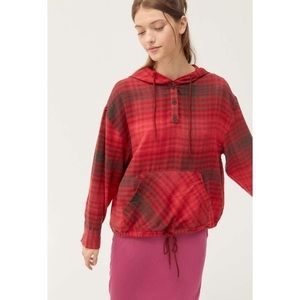 URBAN OUTFITTERS plaid flannel Alex hooded top